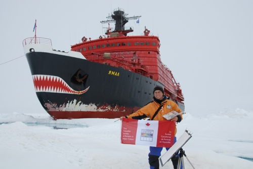 """David McEown with CSPWC flag at the North Pole via Russian Nuclear Icebreaker, Yamal, 2007"