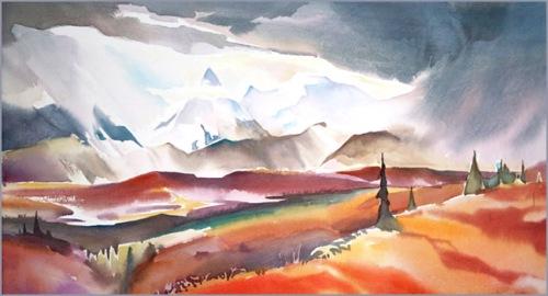 """""""Denali #2"""" 12 in. x 22 in. watercolour"""