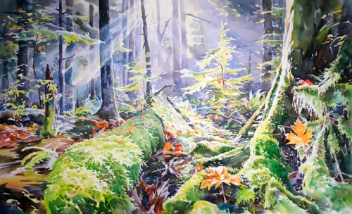 """Autumn in the Pacific Spirit Forest"" 26in x46in. watercolour"