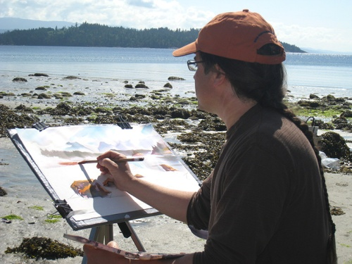 """David giving a demo on the beach at Hollyhock"""