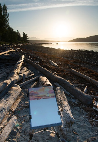 """Sunrise painting from Cortes Island"""